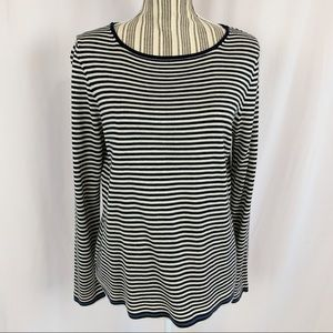 Eddie Bauer Striped Cotton Pullover Sweater Sz M